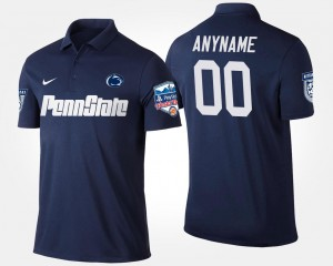Penn State Customized Polo For Men's Navy Bowl Game #00 Fiesta Bowl Name and Number