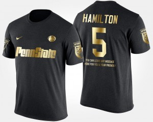 Short Sleeve With Message DaeSean Hamilton Penn State Nittany Lions T-Shirt Black Gold Limited Mens #5