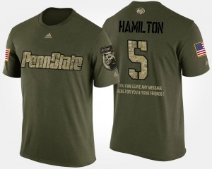 Military #5 Men's DaeSean Hamilton Penn State T-Shirt Short Sleeve With Message Camo