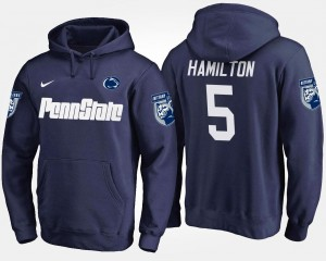 Name and Number Mens #5 DaeSean Hamilton Nittany Lions Hoodie Navy