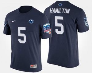 Navy #5 DaeSean Hamilton Penn State T-Shirt Men's Bowl Game Fiesta Bowl