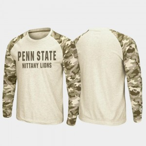 Raglan Long Sleeve Desert Camo Men's Nittany Lions T-Shirt Oatmeal OHT Military Appreciation