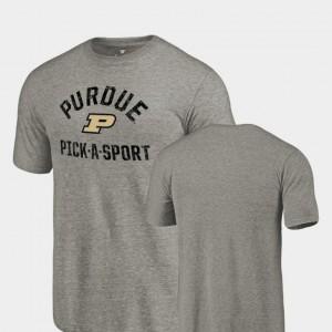 Purdue University T-Shirt Tri Blend Distressed Pick-A-Sport For Men Gray