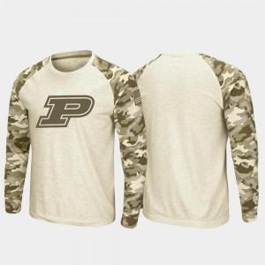 Oatmeal Boilermaker T-Shirt For Men's Raglan Long Sleeve Desert Camo OHT Military Appreciation