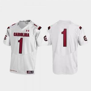 College Football Under Armour #1 White Replica Mens South Carolina Gamecocks Jersey