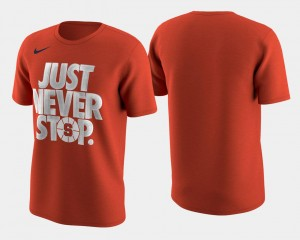 Mens Orange T-Shirt Basketball Tournament Just Never Stop March Madness Selection Sunday Orange