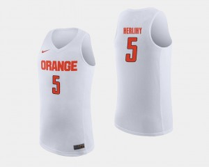 For Men White College Basketball #5 Patrick Herlihy Syracuse Jersey