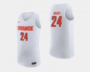 White Men's #24 College Basketball Shaun Belbey Orange Jersey