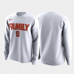 Men's White Syracuse University T-Shirt March Madness Legend Basketball Long Sleeve Family on Court