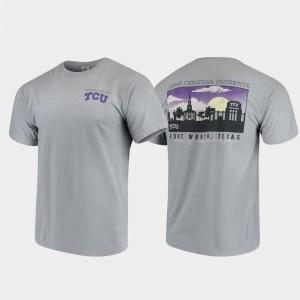 Gray Comfort Colors Campus Scenery Texas Christian University T-Shirt Mens