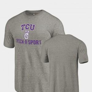 For Men's Pick-A-Sport TCU T-Shirt Gray Tri Blend Distressed