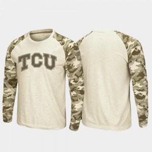 Raglan Long Sleeve Desert Camo OHT Military Appreciation Oatmeal For Men's Horned Frogs T-Shirt