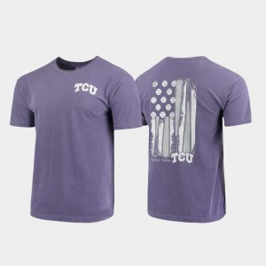 Texas Christian University T-Shirt Baseball Flag Mens Comfort Colors Purple