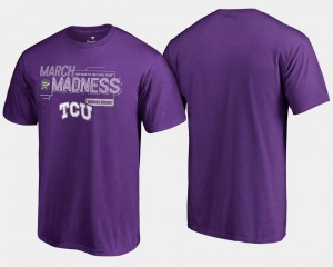 For Men Purple TCU Horned Frogs T-Shirt 2018 March Madness Bound Airball Basketball Tournament