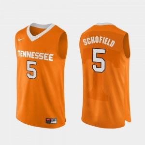 #5 For Men's Authentic Performace Orange College Basketball Admiral Schofield Tennessee Vols Jersey