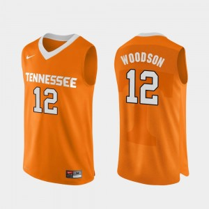College Basketball Orange Authentic Performace Men #12 Brad Woodson Tennessee Volunteers Jersey