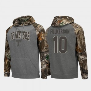 Men Realtree Camo Colosseum Raglan #10 Charcoal John Fulkerson Tennessee Volunteers Hoodie