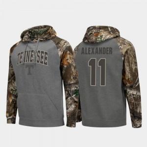 Men's Kyle Alexander Tennessee Hoodie #11 Charcoal Colosseum Raglan Realtree Camo