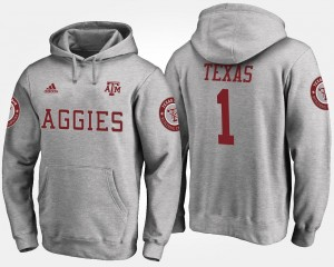 For Men's Name and Number #1 Texas A&M Aggies Hoodie Gray No.1