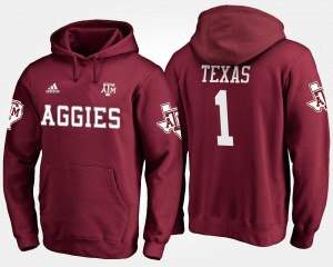 Texas A&M University Hoodie #1 Men's Maroon No.1 Name and Number