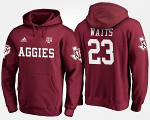 Men's #23 Maroon Armani Watts Texas A&M University Hoodie Name and Number
