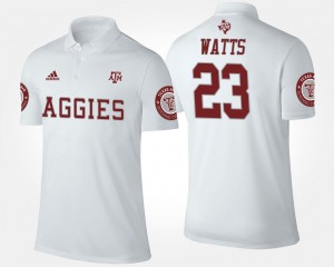 White For Men Armani Watts Texas A&M University Polo Name and Number #23