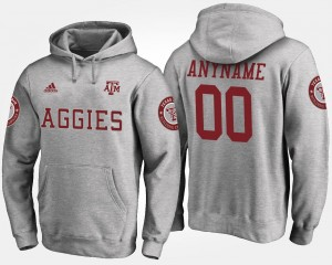 Men Name and Number Aggies Customized Hoodie #00 Gray