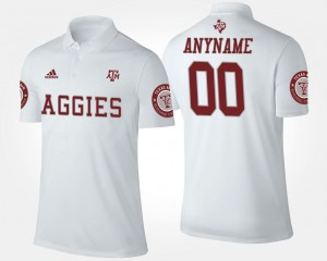 Name and Number #00 White Men Texas A&M Aggies Customized Polo