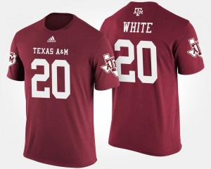 James White Texas A&M Aggies T-Shirt Name and Number Mens #20 Maroon