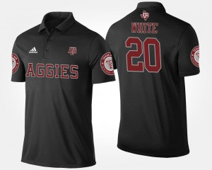 Name and Number For Men's #20 Black James White Texas A&M Polo