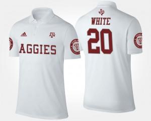 White #20 James White Texas A&M Aggies Polo Mens Name and Number