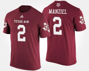 Mens Johnny Manziel Texas A&M T-Shirt #2 Name and Number Maroon