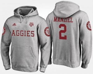 Johnny Manziel Texas A&M Hoodie Gray For Men's Name and Number #2