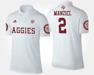 White Johnny Manziel Texas A&M Polo Name and Number #2 For Men