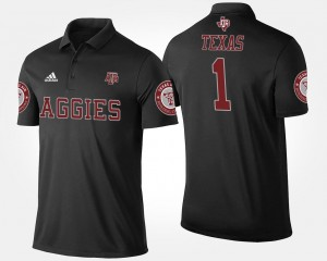 Black Name and Number #1 No.1 Short Sleeve For Men Texas A&M Polo