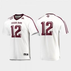 White Football TAMU Jersey Premier For Men's #12