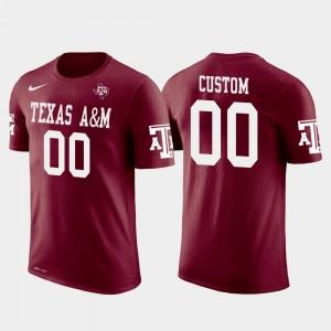 #00 Cotton Football Texas A&M University Custom T-Shirt Crimson Future Stars Mens