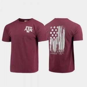 Mens Comfort Colors Maroon Baseball Flag Texas A&M Aggies T-Shirt