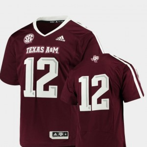 #12 For Men's Premier Adidas Maroon Texas A&M University Jersey College Football