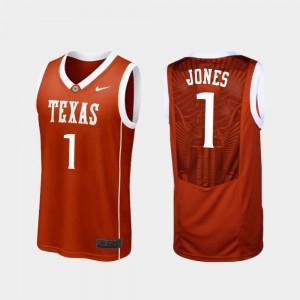 College Basketball Replica Mens #1 Burnt Orange Andrew Jones UT Jersey
