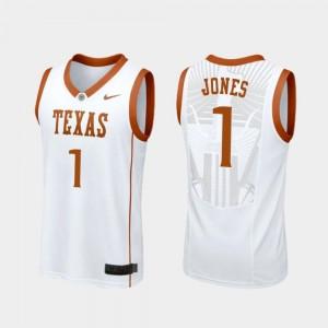 Mens #1 Replica College Basketball White Andrew Jones University of Texas Jersey