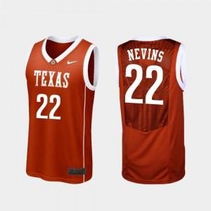 #22 College Basketball Blake Nevins UT Jersey Burnt Orange Replica Men