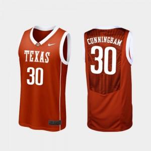 For Men Brock Cunningham UT Jersey Burnt Orange #30 Replica College Basketball