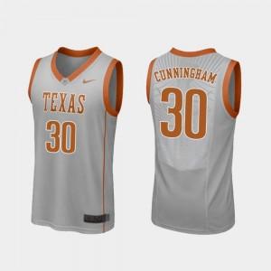Men's #30 Gray College Basketball Brock Cunningham Texas Longhorns Jersey Replica