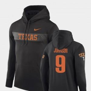 #9 Collin Johnson Texas Longhorns Hoodie For Men's Anthracite Sideline Seismic Nike Football Performance