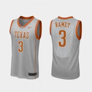 College Basketball Replica #3 Courtney Ramey Texas Longhorns Jersey Gray For Men's