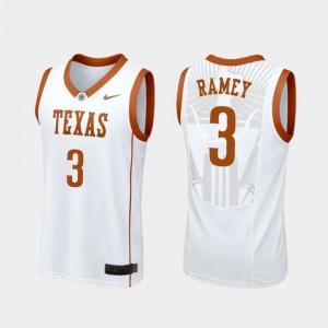 Courtney Ramey Texas Longhorns Jersey #3 College Basketball White Replica Men's