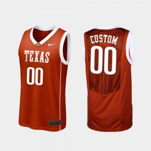 College Basketball For Men's Burnt Orange #00 Texas Longhorns Custom Jersey Replica