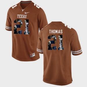 Men's Brunt Orange Pictorial Fashion Duke Thomas Texas Longhorns Jersey #21