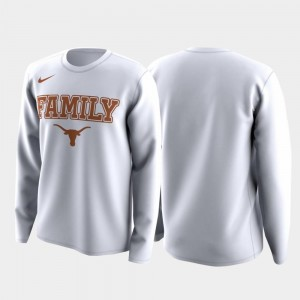 White Mens Family on Court March Madness Legend Basketball Long Sleeve Texas Longhorns T-Shirt